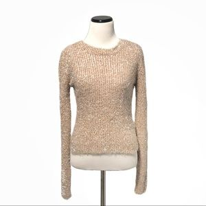 Forever 21 Fuzzy Metallic Sparkly Peach Sweater